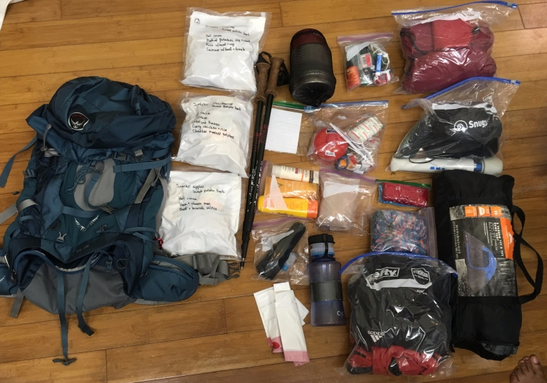 All the stuff I carried on day one.